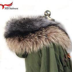 100% Real Fur Scarf Coat Fur Collar Women Winter Coat Fur Scarves Luxury Raccoon Fur Genuine Winter Warm Neck Warmers Shawl