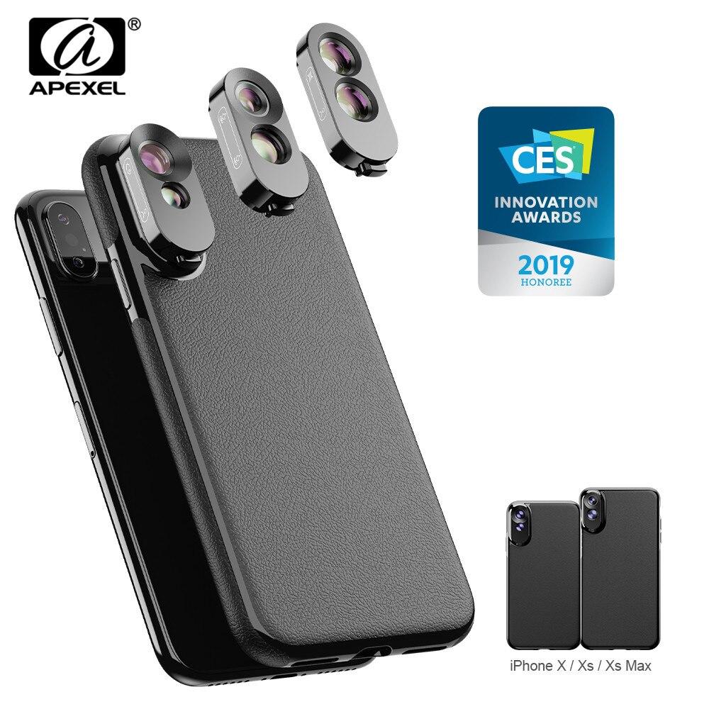 APEXEL 3 em 1 Dual Caso Conjunto Amplo Ângulo de Lente Macro Telefoto Fisheye Lens Com PU de Couro Kit Caso de Telefone para o iphone X, XS, XS Max