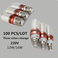 100PCS E27 E14 2835 lamp beads Corn led Bulb Chandelier Candle LED Lighting Three-color Lamp AC 220V 12W 16W safety