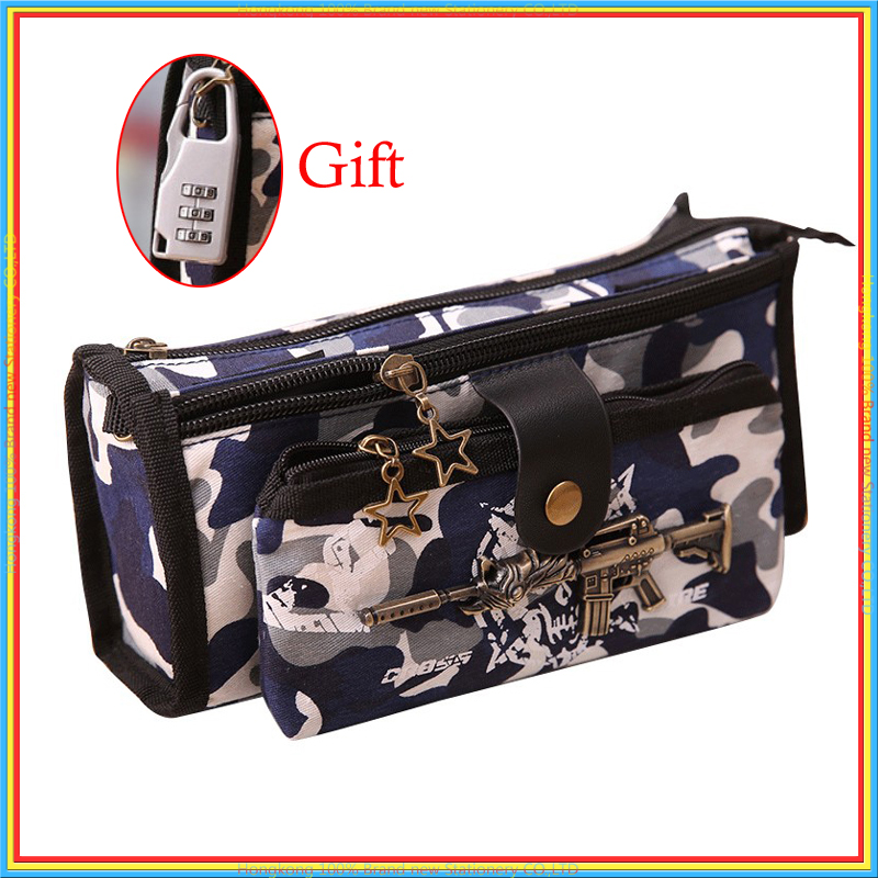 Boy Camouflage Canvas Pencil Case Stationery Estuches Chancery School Cute kalem kutusu Pencilcase penalty with Code Lock 04941 cute multi function 3 layer pencil case with lock button plastic students stationery pencil box bag school penalty chancery etui