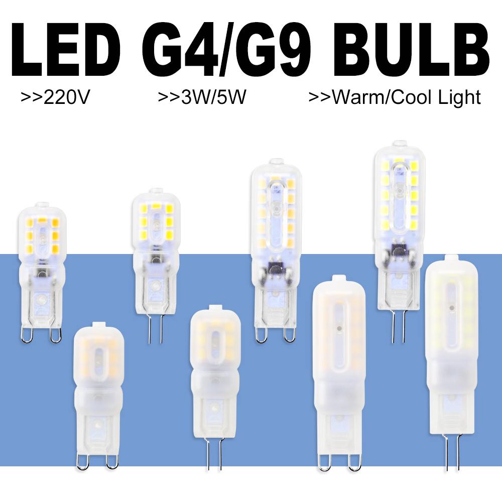8PCS G9 LED Bulb 5W 3W Bombillas LED G4 Dimmable LED Lamp 220V Corn Bulb Chandelier Light 2835SMD Ampoule Replace Halogen Lamp