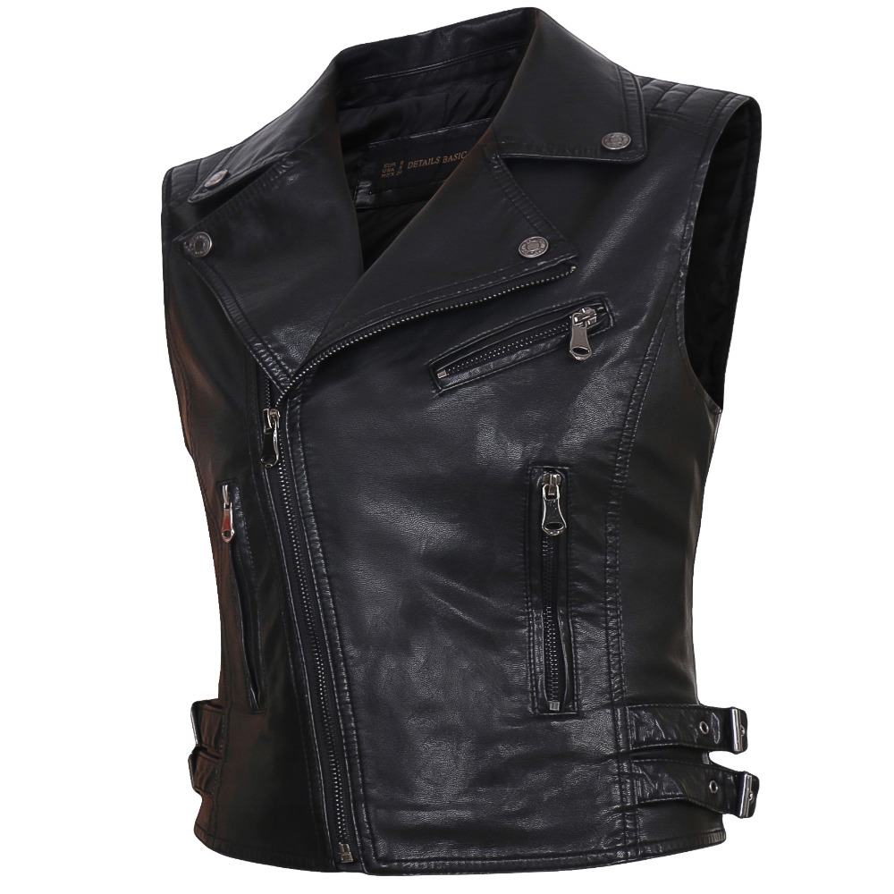 2018 Women Motorcycle PU Faux   Leather   Sleeveless Jackets Ladies Turn-down Collar Belt Zipper Vest Pockets Waistcoat Streetwear