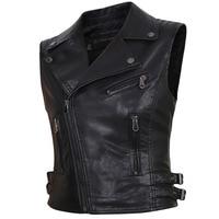2018 Women Motorcycle PU Faux Leather Sleeveless Jackets Ladies Turn down Collar Belt Zipper Vest Pockets Waistcoat Streetwear