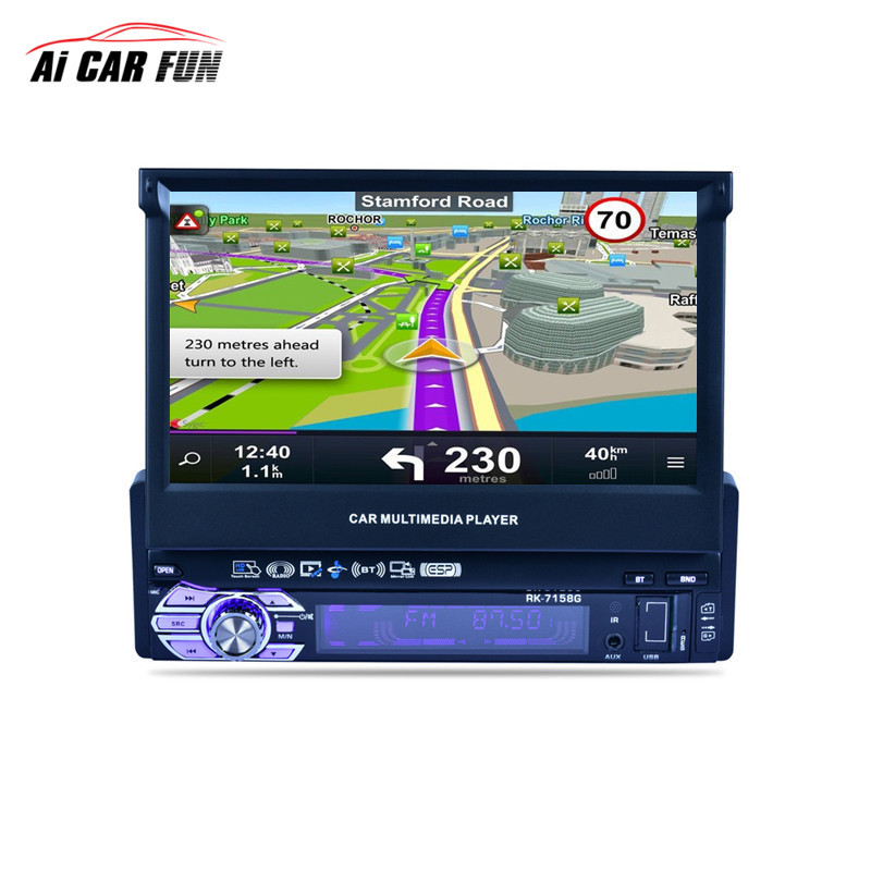 7 Inch 1 Din Car Radio Media Multimedia Player with Rearview camera Vehicle-Mounted Full Auto Retractable Screen MP5 /MP4 / MP3