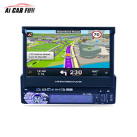 GPS Buildin 7 Inch 1 Din Car Radio Media Multimedia Player with Rearview camera Vehicle Mounted Full Auto Retractable Screen MP5