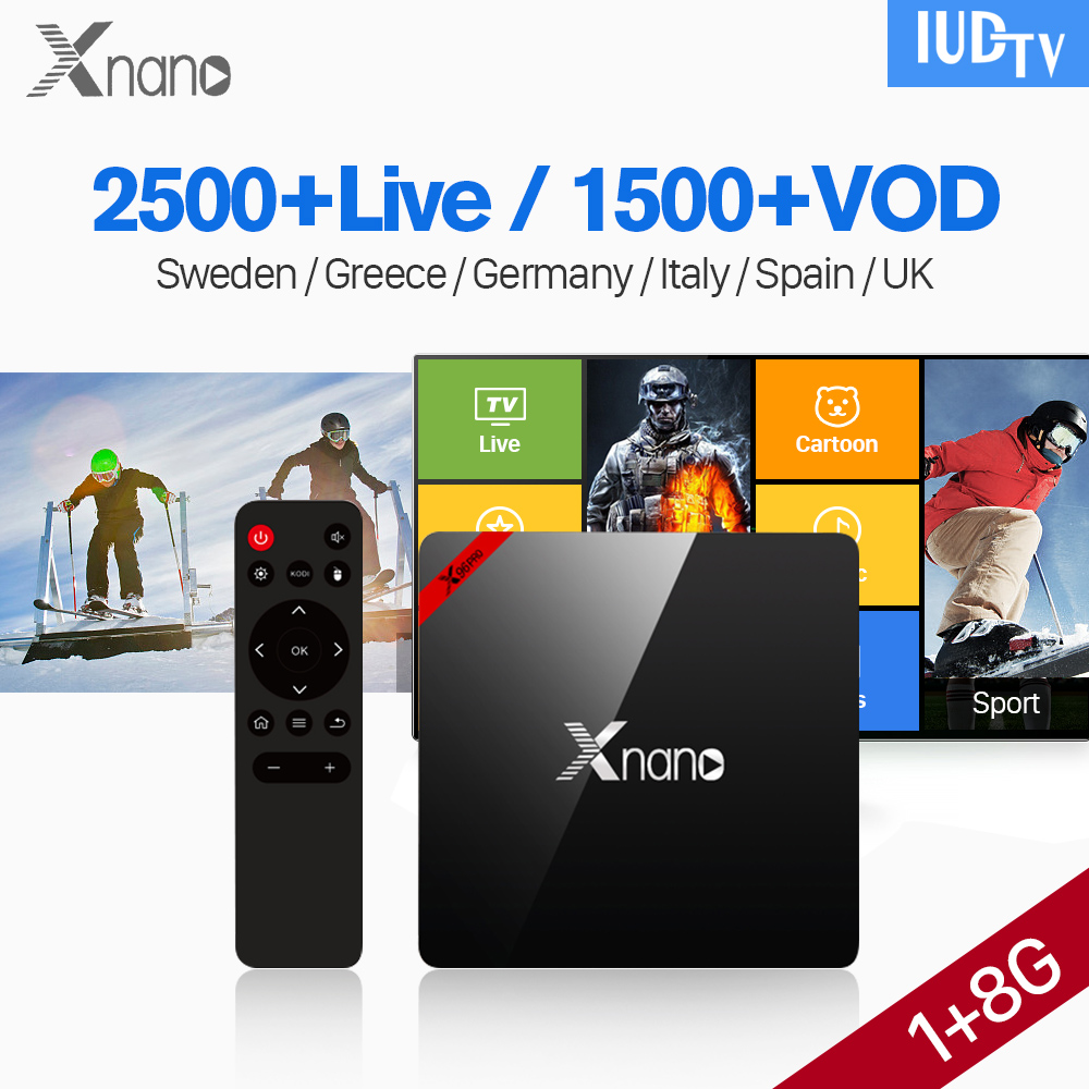 все цены на Xnano Android 6.0 Set top Box IUDTV Subscription IPTV Europe Box S905X 1G 8G BT4.0 Wifi IPTV Italia UK Spain Sweden Arabic IP TV