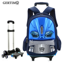 Kids Removable Bags School Trolley Backpacks for Children Boys Girls wheeled Book Bag Luggage Schoolbag with Wheels;sac ecole