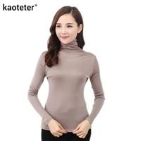 100 Pure Silk 2016 New Autumn Basic Women Long Sleeve Turn Down Collar Casual Tees T