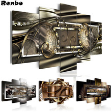 New arrival 5PCS Diamond Embroidery Abstract Golden Wall Art 5D DIY Painting Full Square Drill Pictures Of Rhinestones