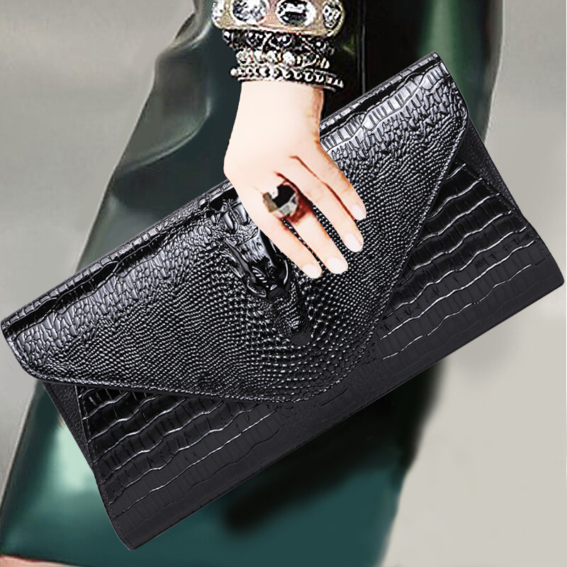 New Fashion Women Genuine Leather Day Clutch Bags Handbags Luxury Brand Alligator Evening Bags Casual Messenger Shoulder Bags