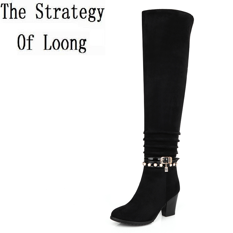 Women Spring Autumn Winter Sheepskin Leather Thick High Heel Buckle Side Zipper Over The Knee Boots Plus Size 34-45 SXQ1007 women winter genuine leather thick high heel side zipper round toe fashion mid half boots plus size 34 45 sxq1007