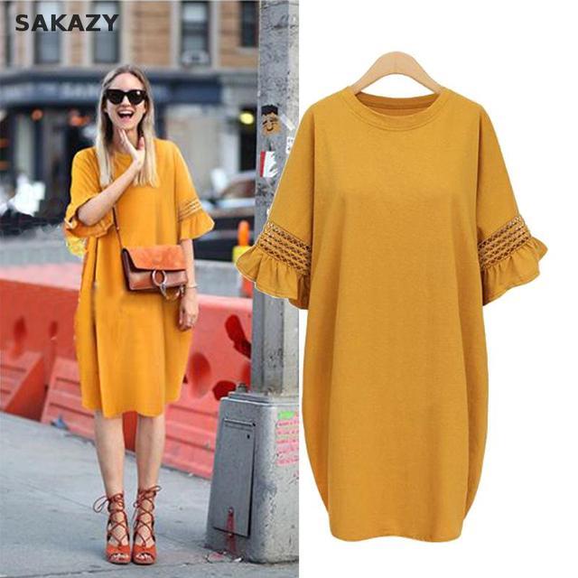 Sakazy L-5xl для женщин Свободные Выдалбливают расклешенными рукавами летнее платье сетки Повседневная одежда из хлопка большой плюс размеры Винтаж более
