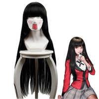 Kakegurui Yumeko Jabami Cosplay Perücken 100 cm Anime Schwarz Lange Gerade Hitze Beständig Synthetische Haar Perucas Cosplay Kostüm Perücke