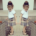 NTYSX niños ropa para niños sets f1636 moda bebé girls plaid falda + falda 2 unids ropa de verano kids traje