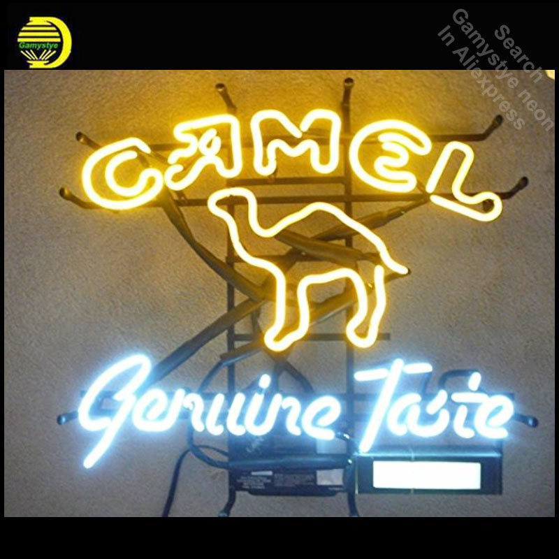 Neon Sign for Camel Genuine Taste Neon Bulb sign Business Display Handmade Glass tube neon light custom personalised neon bar mini cnc engraving machine for sale 6090 mach 3 control system