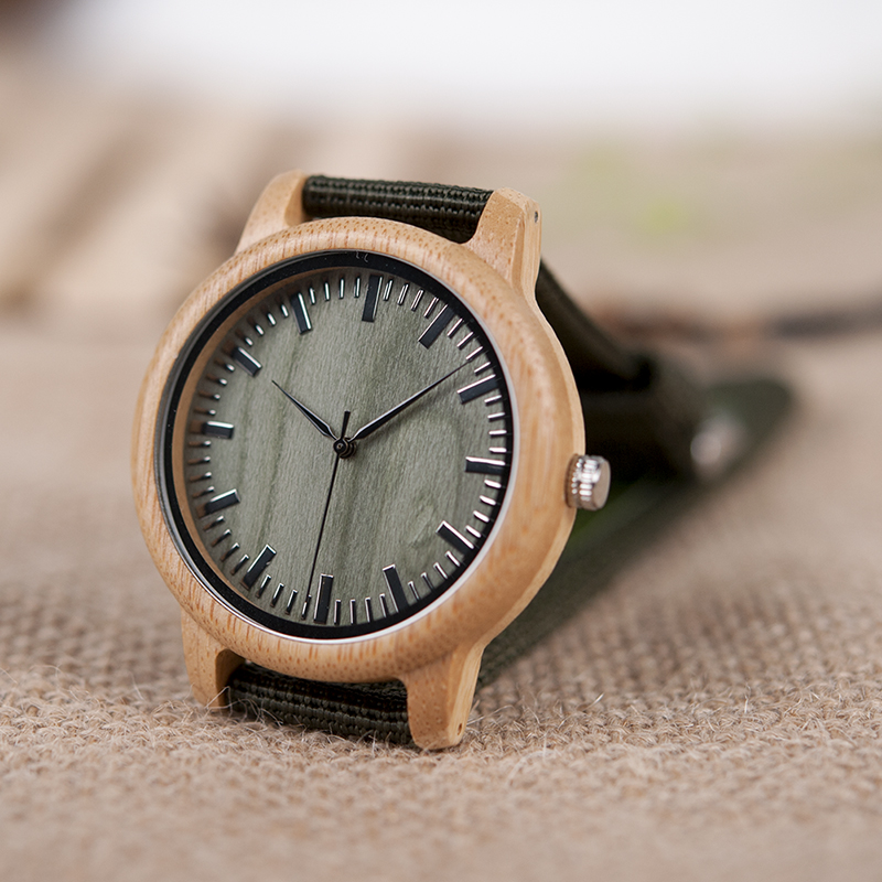 Wooden relojes Quartz Mushi