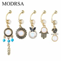 MODRSA Faux Opal Belly Rings Feather Rhinestones 316L Surgical Steel Gold Tone Body Piercing Jewelry Women