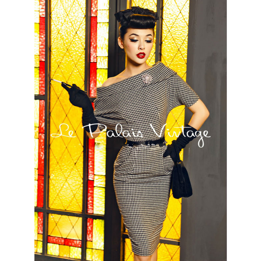 Le Palais Vintage elegant retro bat sleeve Strapless self cultivation swallow gird woolen dress