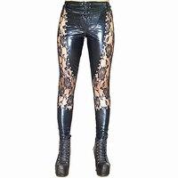 Sıcak 2017 Yeni kadın Faux Deri Pantolon Seksi Siyah Dantel Up Tayt Islak bak Perçinler Clubwear Moda Çiçek Desen Pantolon S666