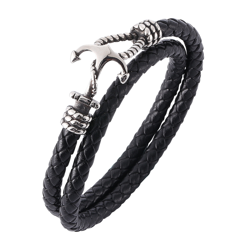 Fashion Men Jewelry Charm Leather Bracelet Anchor Bracelets Wrap Bracelet Mens Wristband Leather Bangles Male Accessories PW756