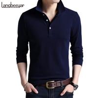 Top Grade New Fashion Men Polo Shirt Solid Color Slim Fit Polo Men Long Sleeve Mercerized