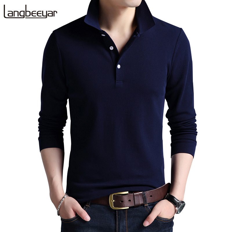 Top Grade New Fashion Men Polo Shirt Solid Color Slim Fit Polo Men Long Sleeve Mercerize ...
