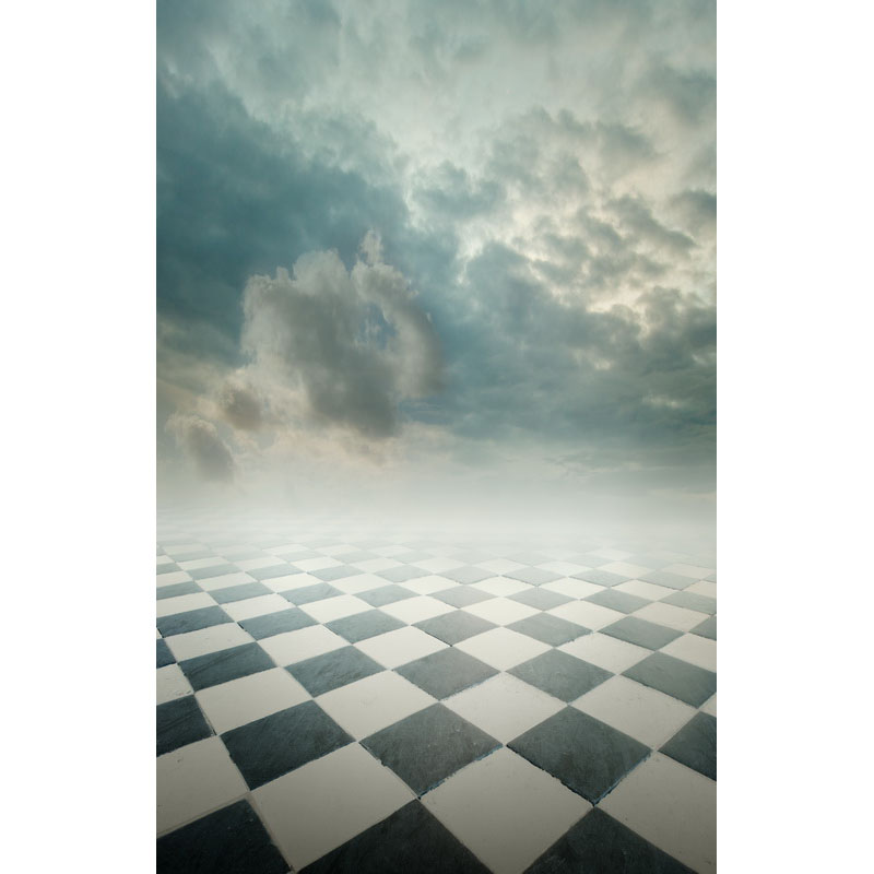 Seamless Vinyl Photography Background Square Floor with Clouds Computer Printed Children Backdrop for Photo Studio F-3161