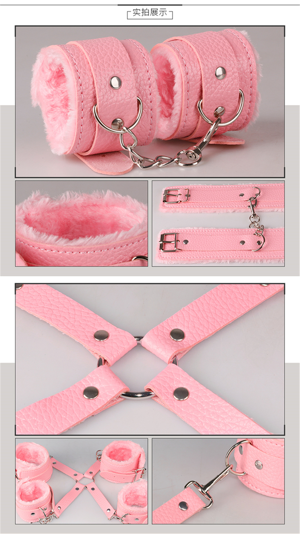 Sex Bondage Kit Set 10 Pcs Sexy Product Set Adult Games Toys Set Hand Cuffs Footcuff Whip Rope Blindfold Couples Erotic Toys 7
