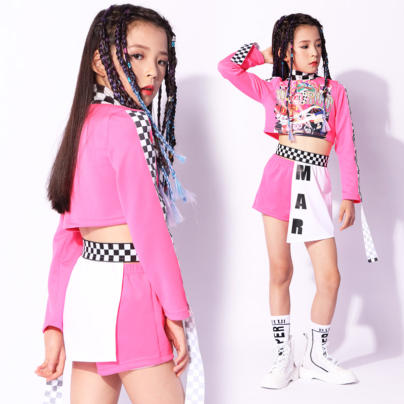 Fashion Child Jazz Dance Costume Girls Clothes Street Dancing Hip Hop Cheerleader Costume Kids Performance Costumes