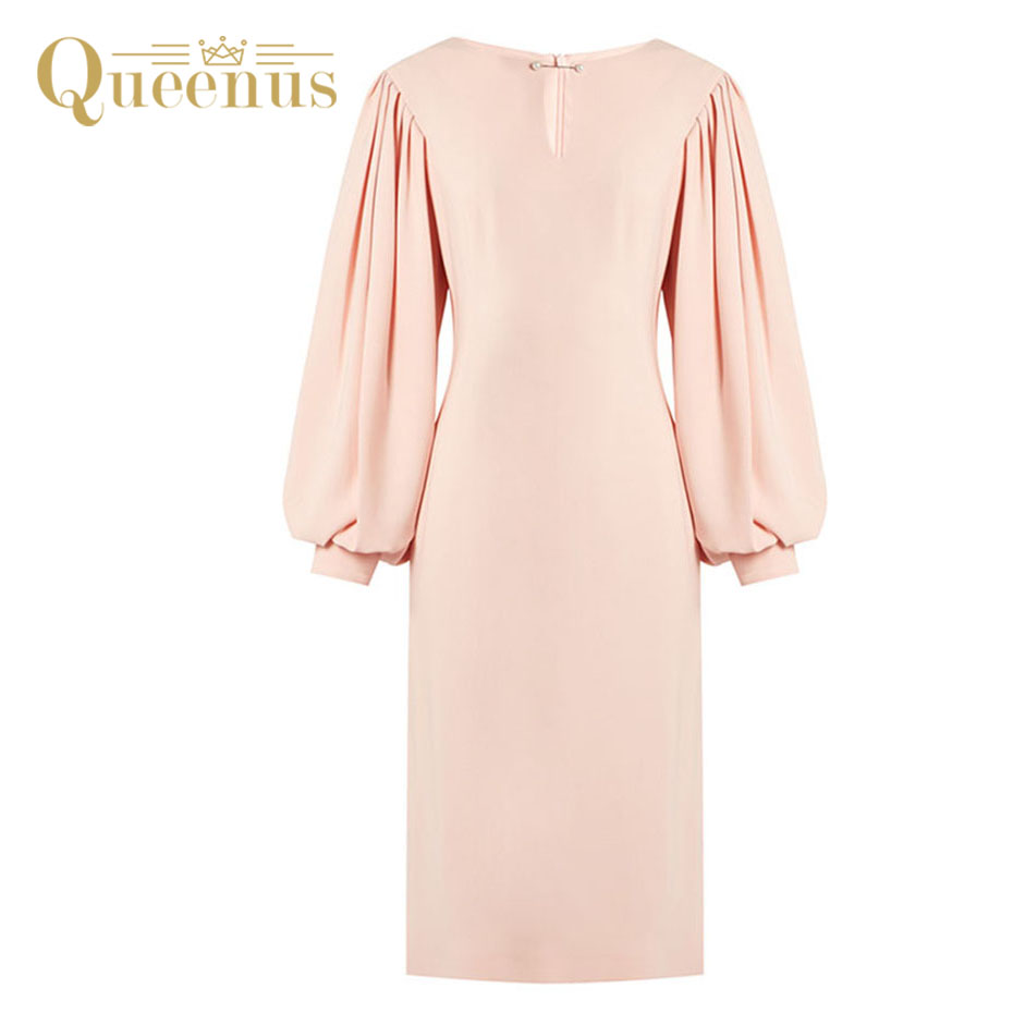 Queenus Women Dress Autumn Winter Lantern Full Sleeve Round Neck Office Lady Dresses Knee Length Pink