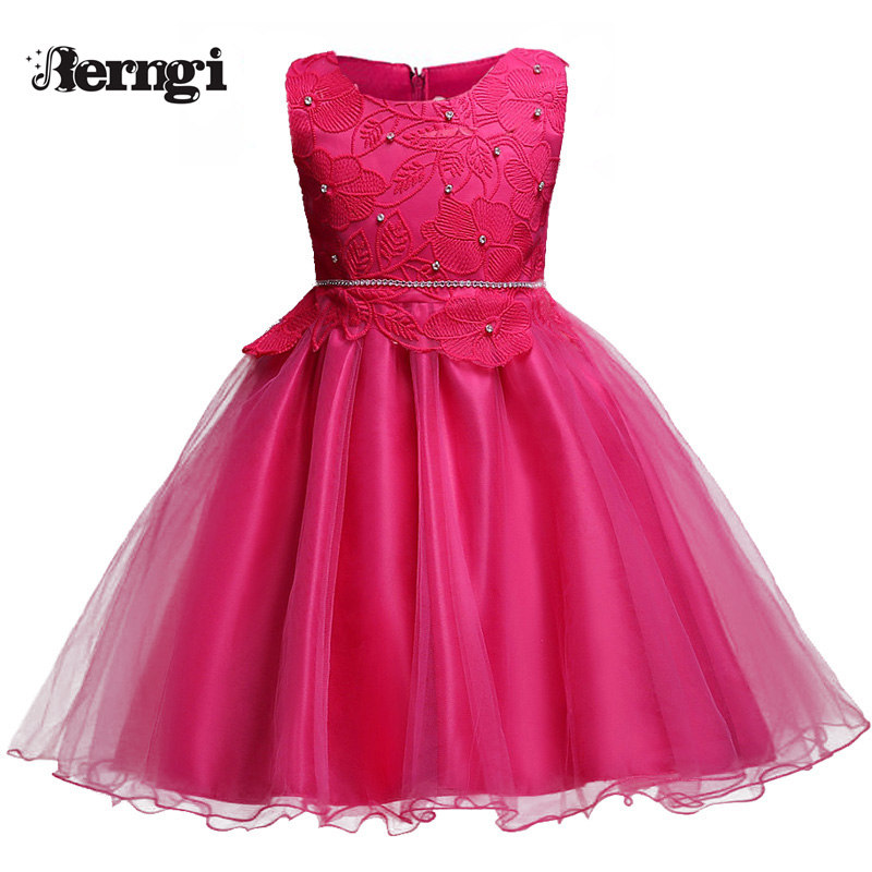 Berngi Girl lace Dress Europen Style Kids Clothes embroidered sleeveless  Performance show  Princess Girls Birthday red dress