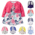 Baby Girl Clothing Set Cotton Long Sleeve Short Outwear + Flower Rompers Dress Newborn Layette Clothing 2 Pieces Set For Girls