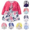 Bebê Conjunto Roupa Da Menina de Algodão de Manga Longa Curto Outwear + macacão flor dress enxoval recém-nascidos roupas 2 peças set para meninas