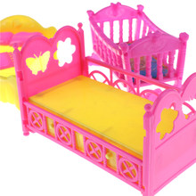 Doll Accessories 1 Set Cute Platic Rocking Cradle Bed Play House Toys For Barbie Mini doll house Furniture Kelly(China)