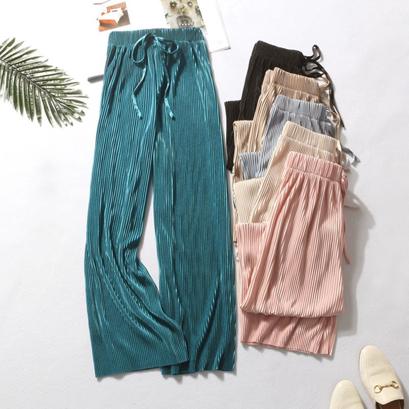 Hot 2019 High Waist Casual Concise All-match Summer Slacks Pants Women Ice Silk Nine-cent Trousers Female Slacks