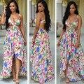 S-XXL de las mujeres del verano vestido largo 2017 sexy correa de espagueti de la playa vestido maxi estampado floral chffion vestidos vestidos tallas grandes XD842