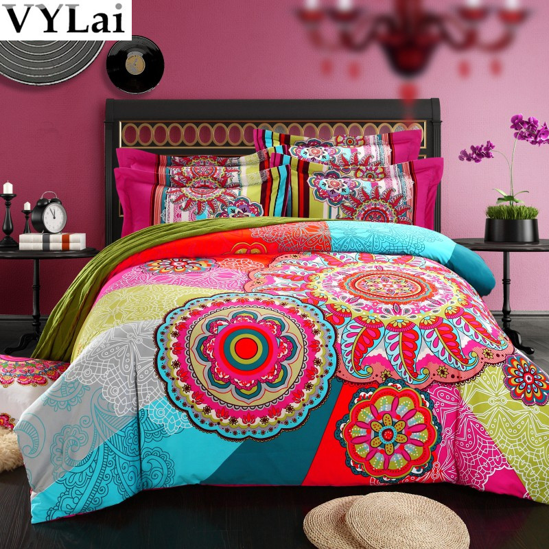 Queen King Size 100 Organic Cotton Bohemian Boho Style Colourful Comforter Sets Duvet Cover S Modern Bedding In From Home