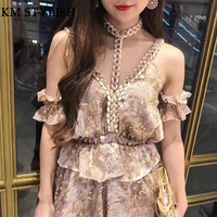2018 New Summer Playsuits Sexy Knitted Twist Halter V Neck Chiffon Jumpsuit Shorts