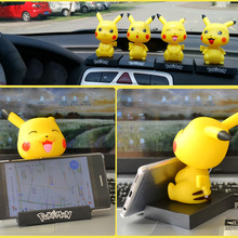 Pet Elf Pocket Monster Cute Pikachu Toy Car Shaking Head Decoration Mobile Phone Stand Car Decoration Gift недорого