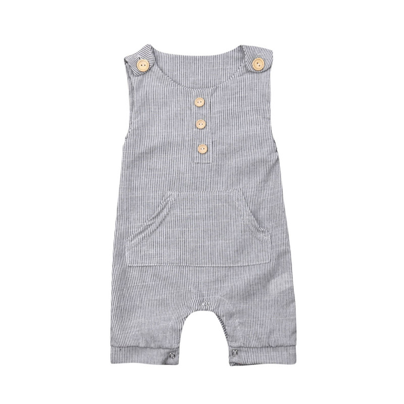 23ee007de76cd Summer Brief Baby Girl Boy Rompers Cotton and Linen Striped Sleeveless  Playsuits Unisex Baby Clothes Pocket Button Sunsuit 0-18M ~ Premium Deal  July 2019