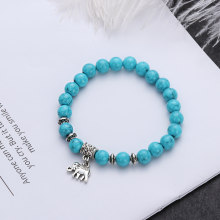 1 PC Vintage Women Natural Stone Elephant Pendant Bracelets Bangles Tibet Silver Round Beads Bracelet Jewelry Elastic Stretch(China)