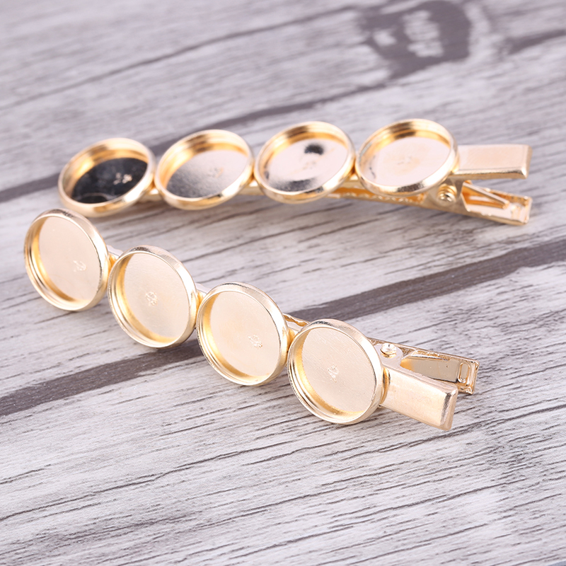 reidgaller 5pcs fit 12mm cabochon hair clip base settings KC gold plated alligator hairclip bezel trays diy hair accessories