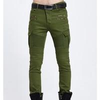 Hiphop Kot Erkekler Rahat Moda Erkekler Kot Düz Renk Biker kot Ordu Tarzı Ince 004 Skinny Erkekler Marka Giyim biker kot