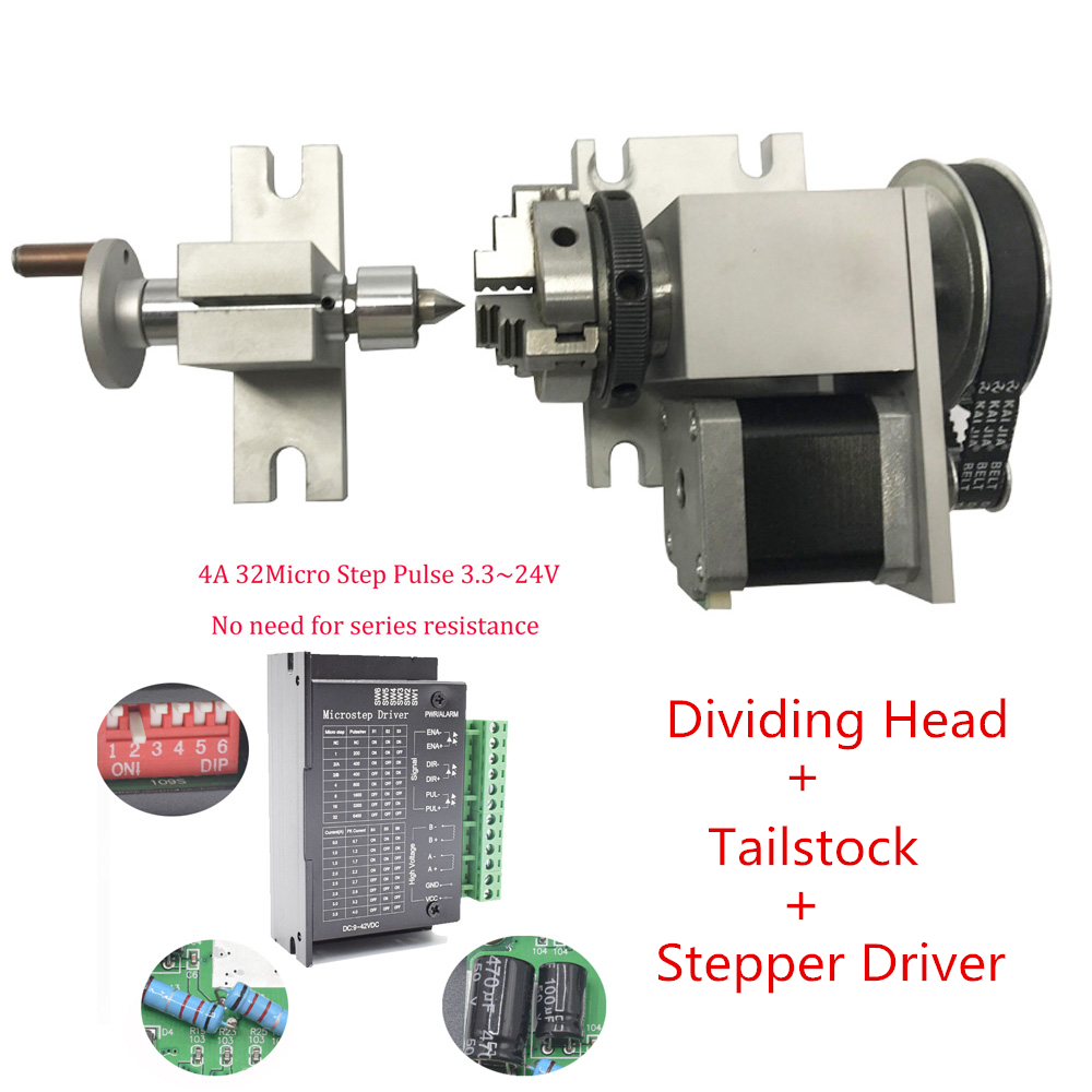 CNC Rotary Axis 4th Axis K02 4Jaw 50mm Lathe Chuck Nema17 Stepper Motor Dividing Head+ Tailstock+ Driver for Woodworking Router number