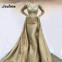 Abendkleider Mermaid Dubai Turkish Abaya Formal Evening Dresses With Long Sleeves Robe De Soiree 2018 Vintage Taffeta Party Gown