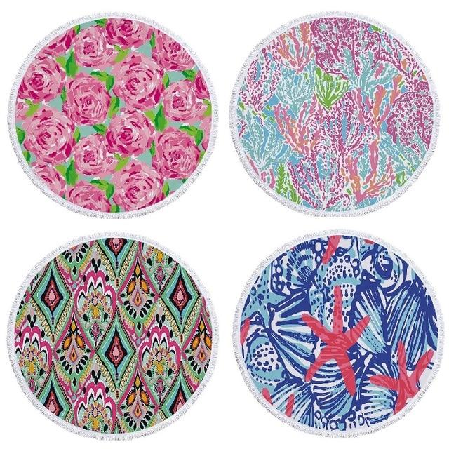 Round Beach Towel Fashion Flower Printed Tel Mandala Towels 150cm Microfiber Bath Yoga Mat