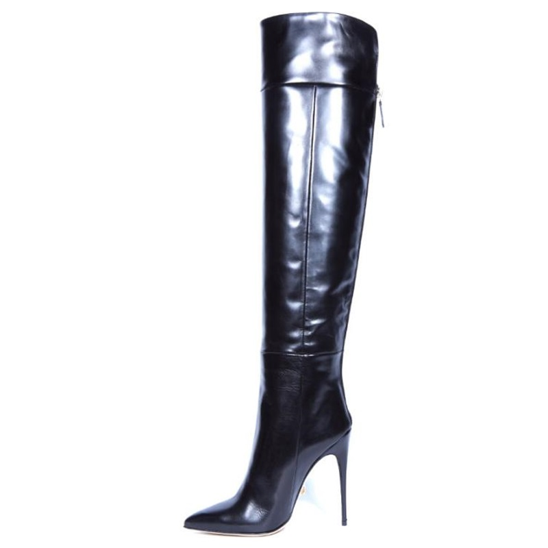 2018 Women Fashion Autumn Winter Patent Leather Long Boots Cuts Out High Heels Over The Knee Boots Catwalk Gladiator Shoes2018 Women Fashion Autumn Winter Patent Leather Long Boots Cuts Out High Heels Over The Knee Boots Catwalk Gladiator Shoes