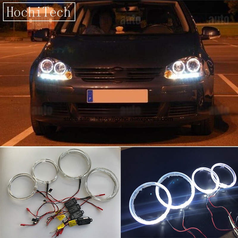 HochiTech Cree LED Chip Light Guide Angel Eyes Kit White Halo Ring with Dimmer Fuction For VOLKSWAGEN VW golf 5 mk5 2004 2009