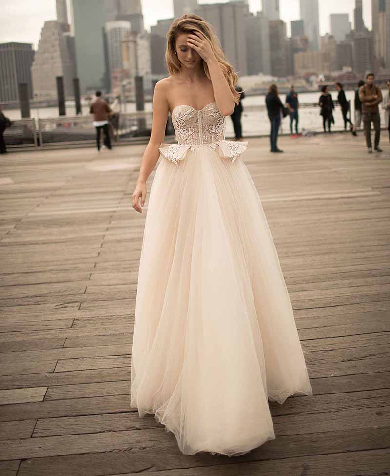LORIE Princess Wedding Dress Sweetheart Appliqued Strapless Bride Dress A-Line Tulle Backless Boho Wedding Gown