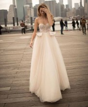 LORIE Princess Wedding Dress Sweetheart Appliqued Strapless Bride A-Line Tulle Backless Boho Gown
